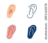 ear icon set in flat and line... | Shutterstock .eps vector #1891162078