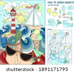 find  hidden objects. marine... | Shutterstock .eps vector #1891171795