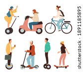 scooters and bicycles ... | Shutterstock .eps vector #1891185895