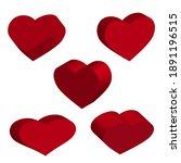 3d red hearts. vector set of... | Shutterstock .eps vector #1891196515