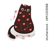 cute cat with hearts  vector... | Shutterstock .eps vector #1891203088