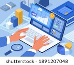 financial consultant typing on...   Shutterstock .eps vector #1891207048