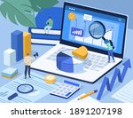 people analyzing data and... | Shutterstock .eps vector #1891207198