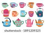 cups and teapot. scandinavian... | Shutterstock .eps vector #1891209325