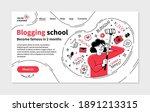 blogging school landing page in ... | Shutterstock .eps vector #1891213315