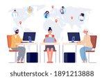 worldwide call center. contact...   Shutterstock .eps vector #1891213888