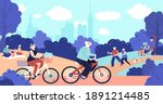 old people in park. active... | Shutterstock .eps vector #1891214485