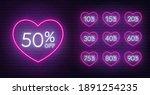 valentine day discount neon... | Shutterstock .eps vector #1891254235