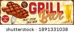 vintage grill bar metal sign...   Shutterstock .eps vector #1891331038