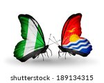 two butterflies with flags on... | Shutterstock . vector #189134315