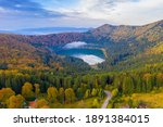 Aerial Autumn Lake With Morning ...