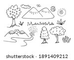 hand drawn mountains sketch... | Shutterstock .eps vector #1891409212