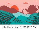 tea plantation landscape with... | Shutterstock .eps vector #1891453165