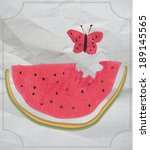kids naive drawing watermelon... | Shutterstock .eps vector #189145565