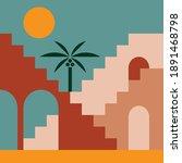 moroccan architecture. boho... | Shutterstock .eps vector #1891468798