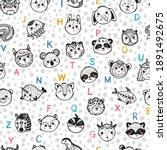 Cute Animal Alphabet Seamless...