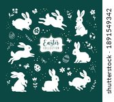 collection of easter bunnies.... | Shutterstock .eps vector #1891549342