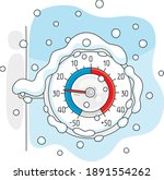 round window thermometer on a... | Shutterstock .eps vector #1891554262