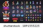 big set of hookah bar neon sign ...   Shutterstock .eps vector #1891555225