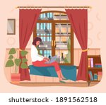 business woman working at home... | Shutterstock .eps vector #1891562518