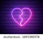 broken heart neon light icon....   Shutterstock .eps vector #1891580578