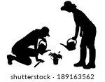 vector silhouette of a gardener ...   Shutterstock .eps vector #189163562