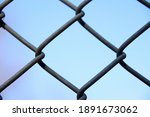 Close Op Of Metal Fence With...
