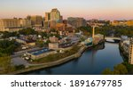 Sunrise Over Cristina River and Downtown City Skyline Wilmington Delaware