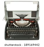 Open typewriter on white background with clipping path - stock photo