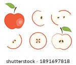 set of flat vector red whole... | Shutterstock .eps vector #1891697818