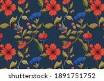 Vintage red and blue floral pattern background, featuring public domain artworks