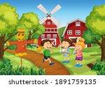scene with many children in the ...   Shutterstock .eps vector #1891759135