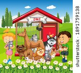 group of pet with owner in the...   Shutterstock .eps vector #1891759138