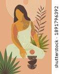 gauguin inspired mid century...   Shutterstock . vector #1891796392