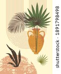 palm leaves in jar mid century...   Shutterstock . vector #1891798498