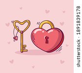 Heart Shaped Red Lock With...