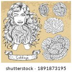 design set with young beautiful ...   Shutterstock .eps vector #1891873195