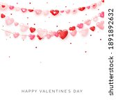 garlands of hearts on white... | Shutterstock .eps vector #1891892632
