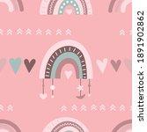 seamless pattern in pink boho... | Shutterstock .eps vector #1891902862