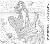 mermaid by the sea.coloring... | Shutterstock .eps vector #1891930342