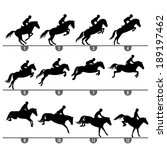 Stock vector set of jumping horse phases silhouettes 189197462