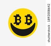 bitcoin icon sign. smiling face ...   Shutterstock .eps vector #1892008642