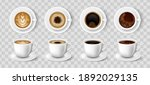 realistic coffee cups. black... | Shutterstock .eps vector #1892029135