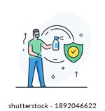 person is disinfecting with an... | Shutterstock .eps vector #1892046622