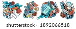 epidemic cartoon raster doodle...   Shutterstock . vector #1892066518