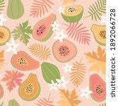cute  colourful papaya tropical ... | Shutterstock .eps vector #1892066728