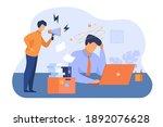 furious boss with megaphone... | Shutterstock .eps vector #1892076628