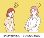 business woman thinking with... | Shutterstock .eps vector #1892085502