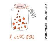 jar with hearts. vector...   Shutterstock .eps vector #1892093815
