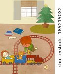 illustration of boy with train... | Shutterstock . vector #189219032